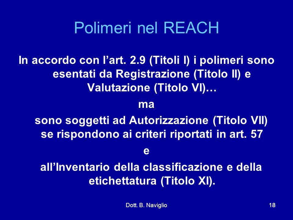 Polimeri nel REACH In accordo con l'art. 2.9 (Titoli I) i polimeri sono esentati da Registrazione (Titolo II) e Valutazione (Titolo VI)…