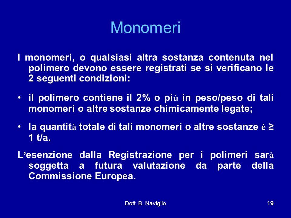 Monomeri I monomeri, o qualsiasi altra sostanza contenuta nel polimero devono essere registrati se si verificano le 2 seguenti condizioni: