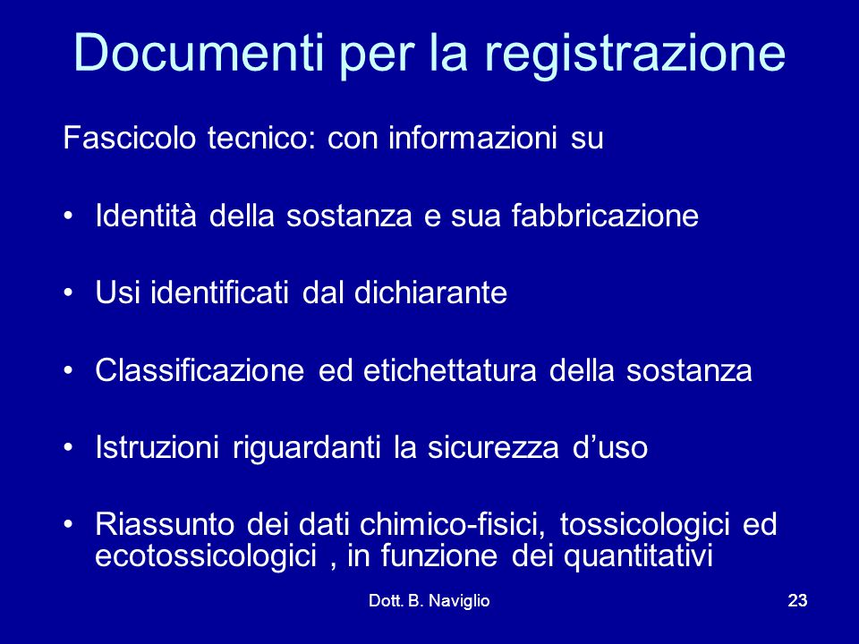 Documenti per la registrazione