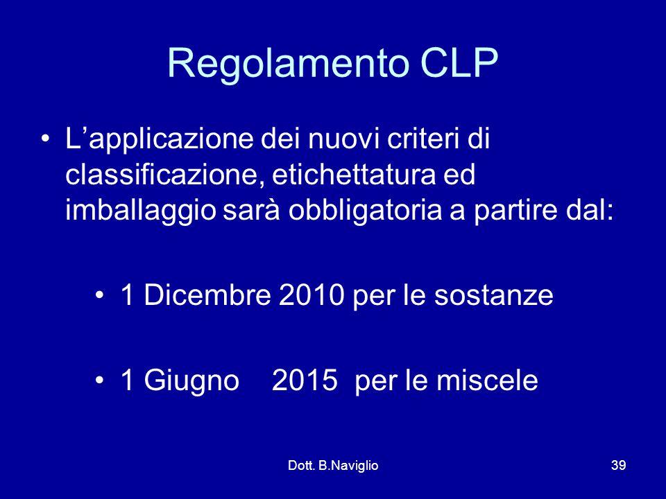 Regolamento CLP L'applicazione dei nuovi criteri di classificazione, etichettatura ed imballaggio sarà obbligatoria a partire dal: