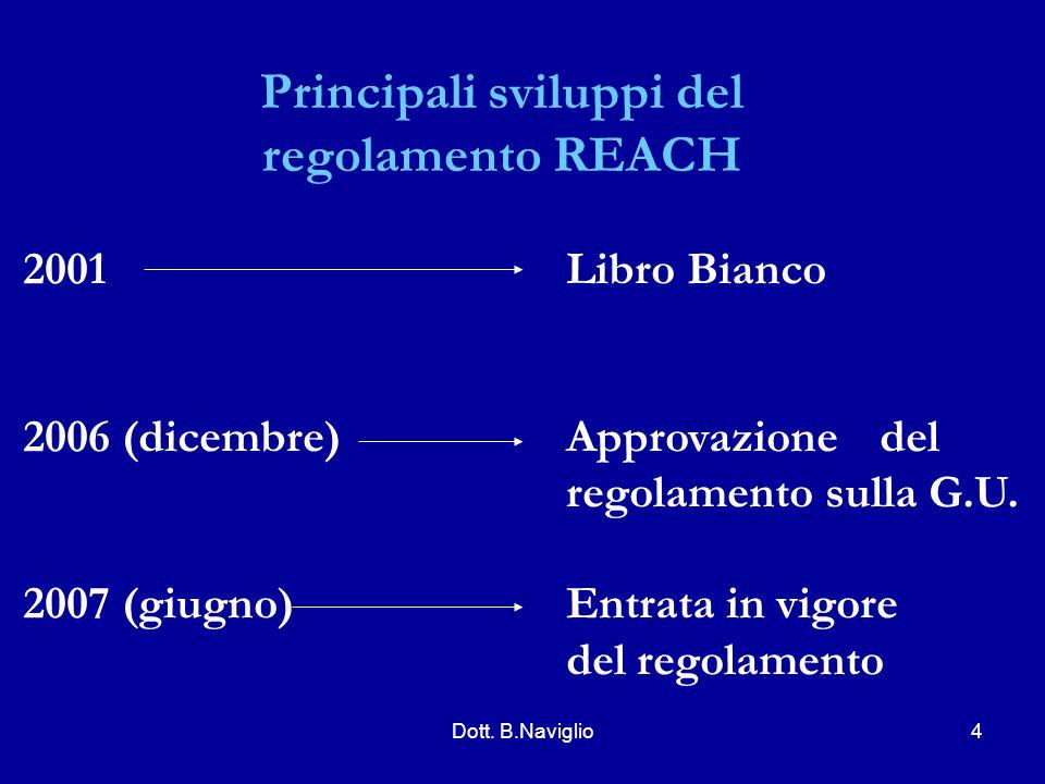 Principali sviluppi del regolamento REACH