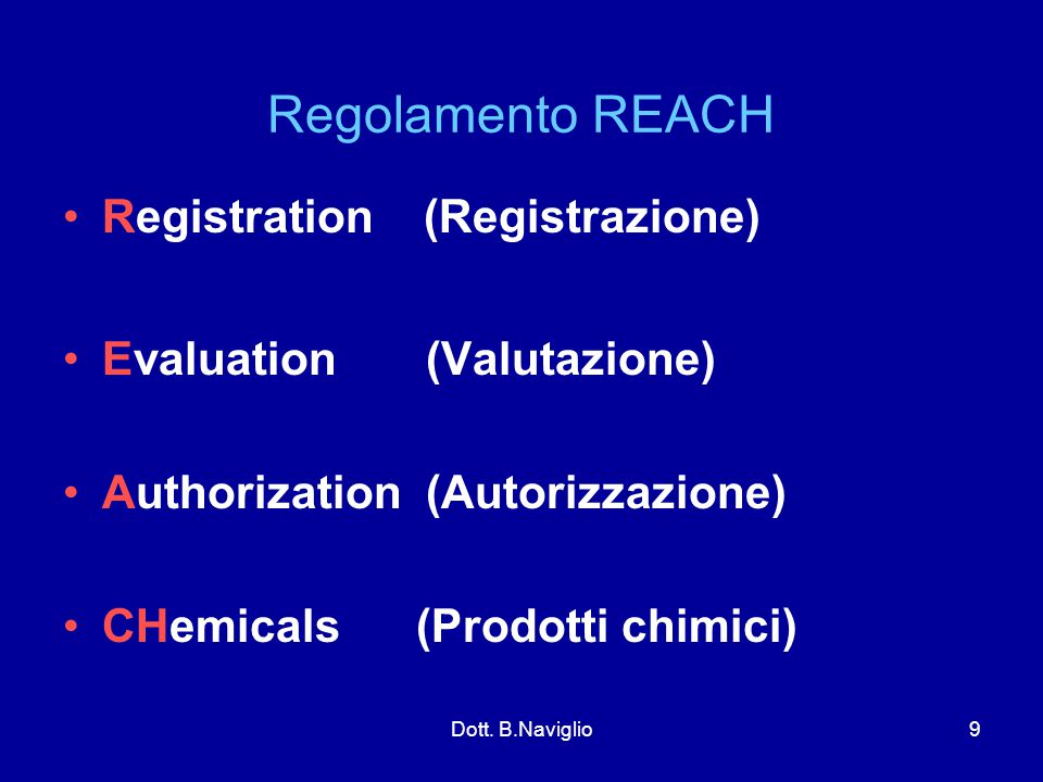 Regolamento REACH Registration (Registrazione)