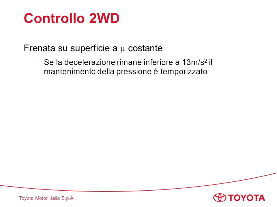 Controllo 2WD Frenata su superficie a  costante