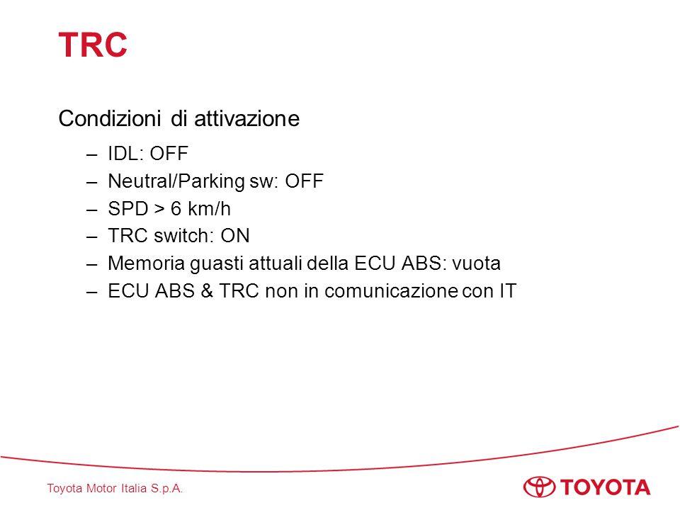 TRC Condizioni di attivazione IDL: OFF Neutral/Parking sw: OFF