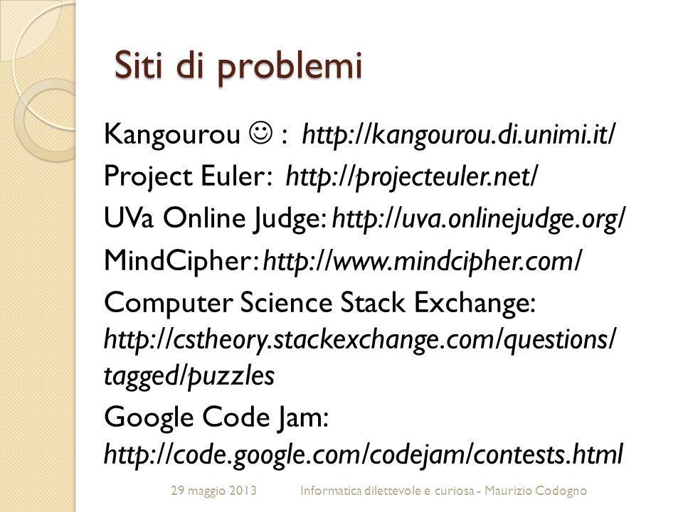 Siti di problemi Kangourou  : http://kangourou.di.unimi.it/
