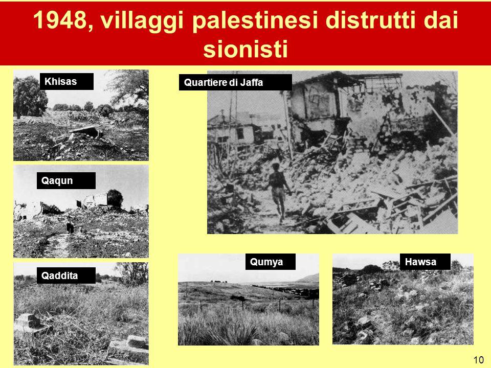 1948, villaggi palestinesi distrutti dai sionisti