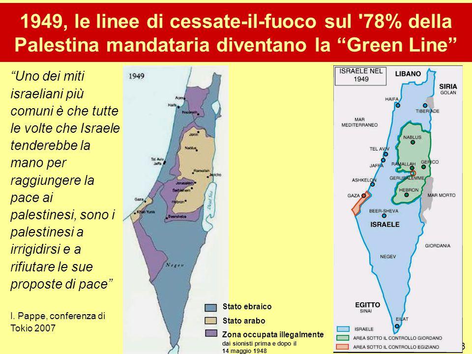 1949, le linee di cessate-il-fuoco sul 78% della Palestina mandataria diventano la Green Line