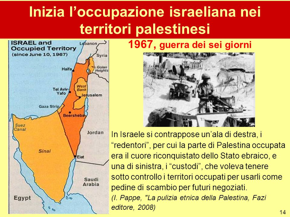 Inizia l'occupazione israeliana nei territori palestinesi