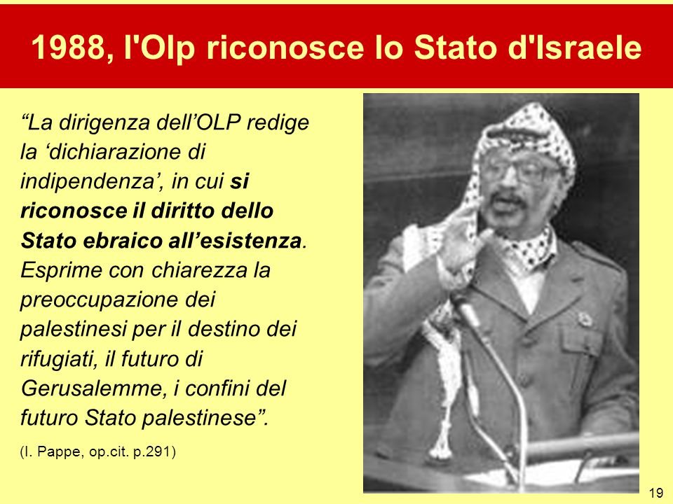 1988, l Olp riconosce lo Stato d Israele