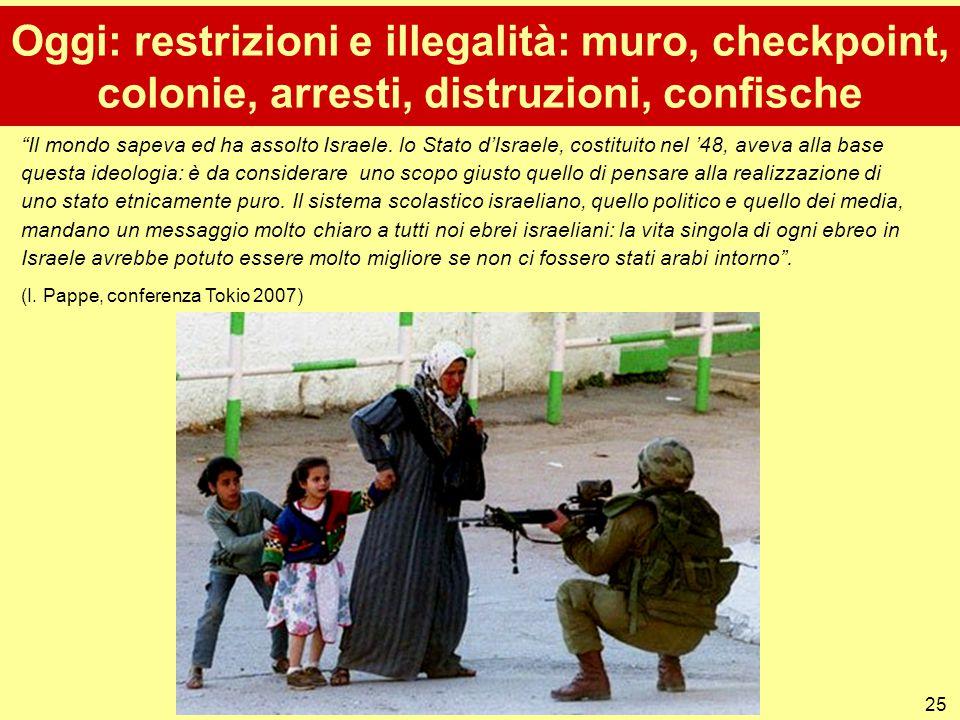 Oggi: restrizioni e illegalità: muro, checkpoint, colonie, arresti, distruzioni, confische