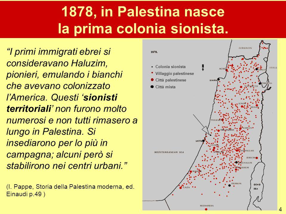 1878, in Palestina nasce la prima colonia sionista.