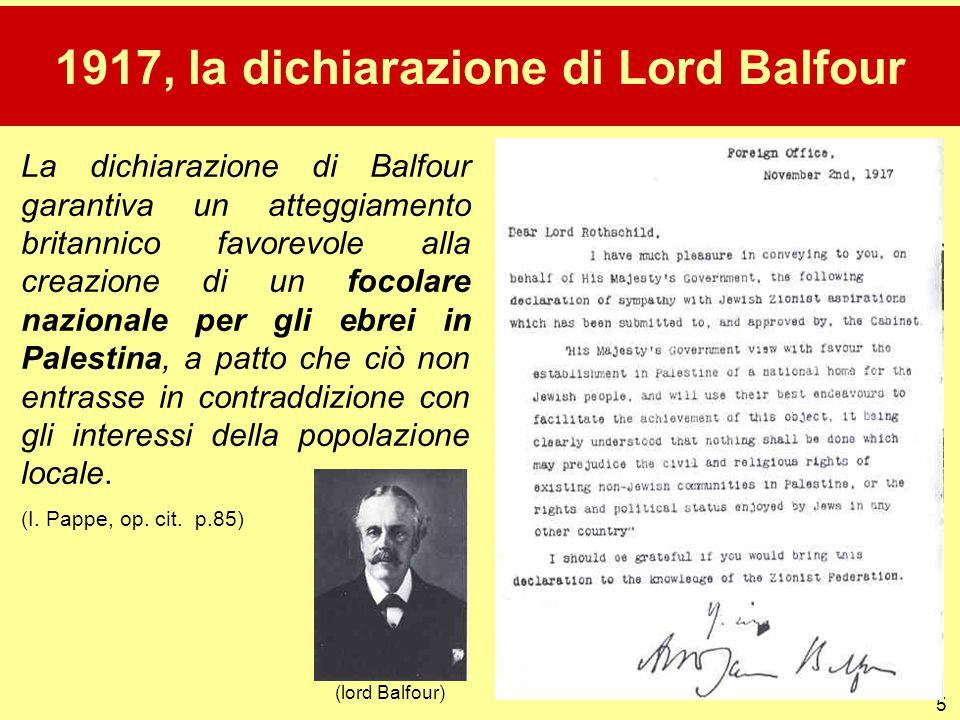 1917, la dichiarazione di Lord Balfour