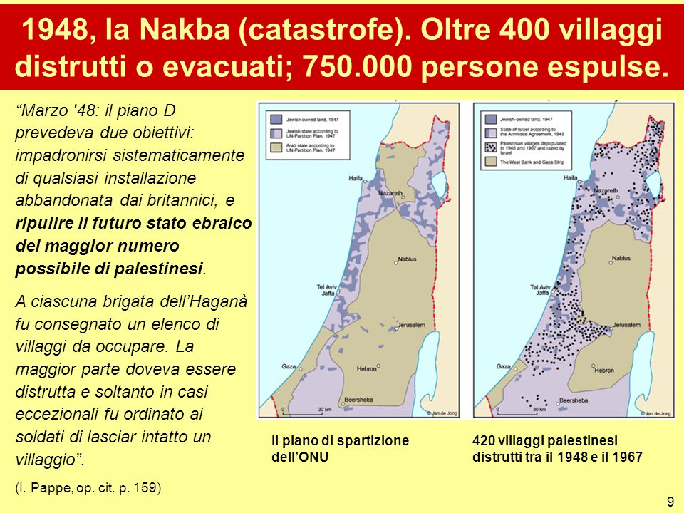 1948, la Nakba (catastrofe). Oltre 400 villaggi distrutti o evacuati; 750.000 persone espulse.