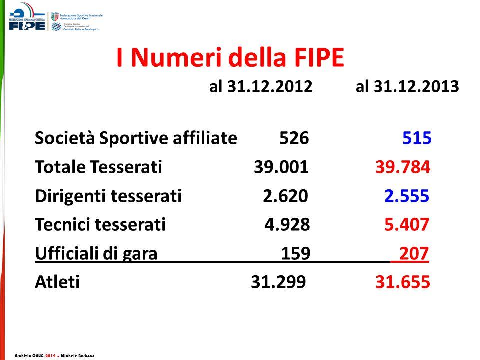 I Numeri della FIPE al 31.12.2012 al 31.12.2013