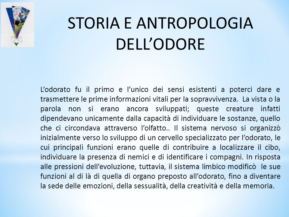 STORIA E ANTROPOLOGIA DELL'ODORE