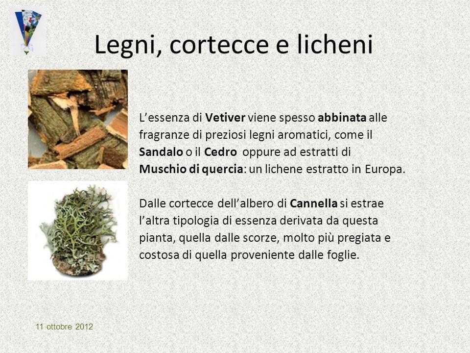 Legni, cortecce e licheni