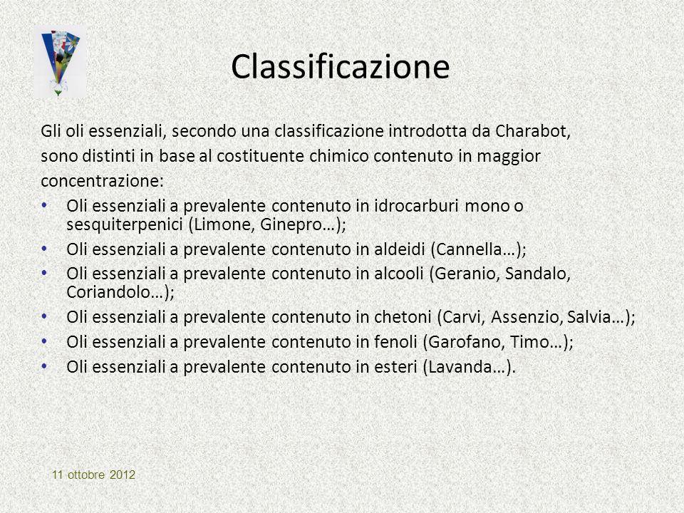 Classificazione Gli oli essenziali, secondo una classificazione introdotta da Charabot,