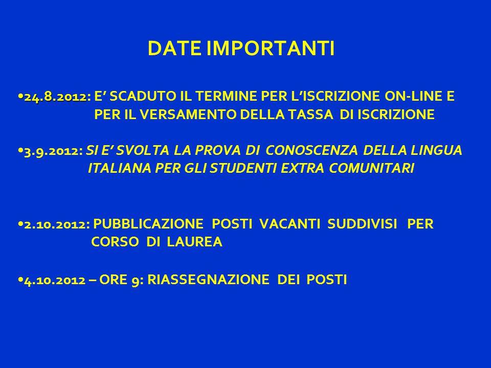 DATE IMPORTANTI 24.8.2012: E' SCADUTO IL TERMINE PER L'ISCRIZIONE ON-LINE E. PER IL VERSAMENTO DELLA TASSA DI ISCRIZIONE.