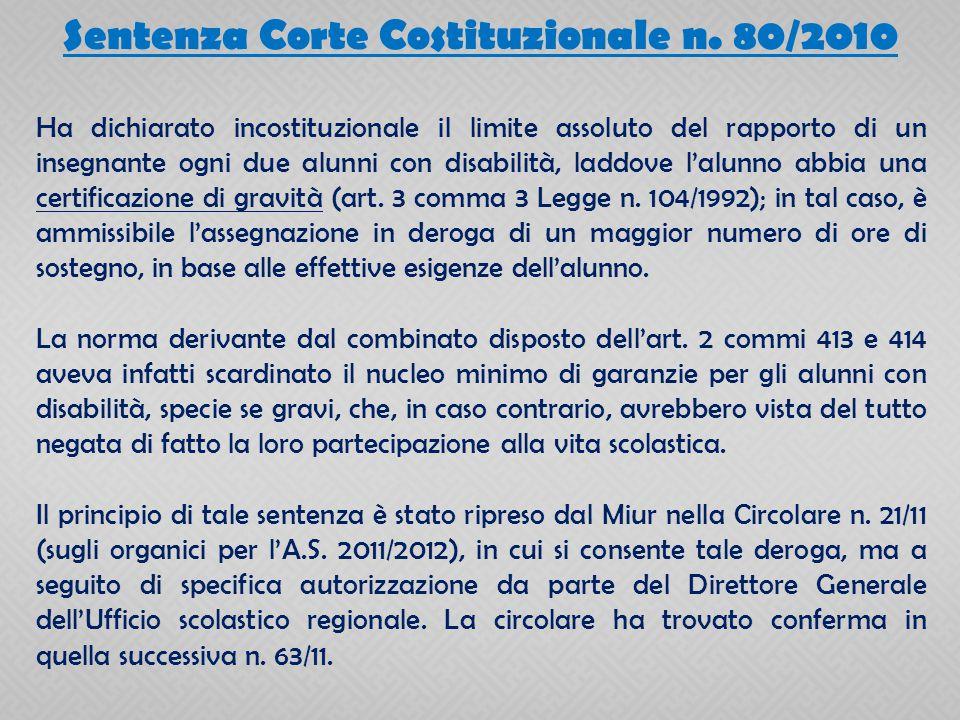 Sentenza Corte Costituzionale n. 80/2010