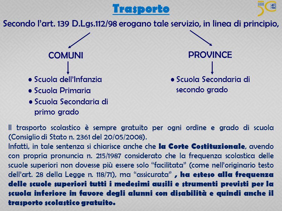 Trasporto Secondo l'art. 139 D.Lgs.112/98 erogano tale servizio, in linea di principio, COMUNI. PROVINCE.