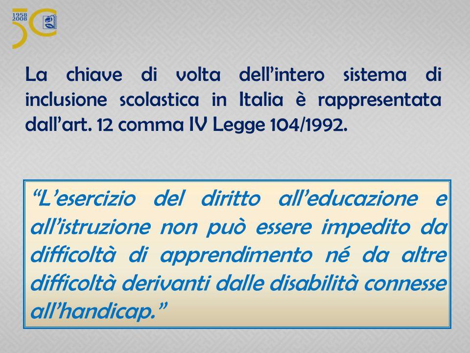 La chiave di volta dell'intero sistema di inclusione scolastica in Italia è rappresentata dall'art. 12 comma IV Legge 104/1992.