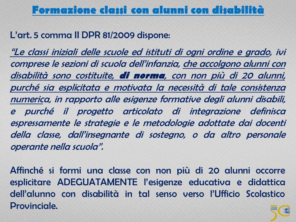 Formazione classi con alunni con disabilità