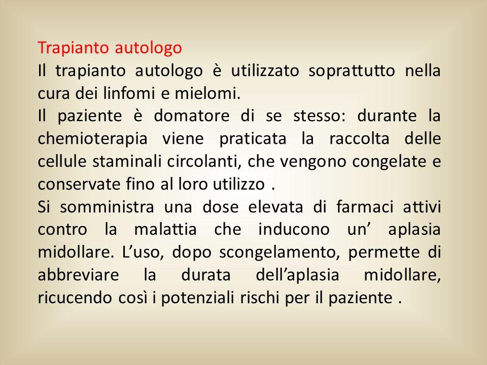 Trapianto autologo Il trapianto autologo è utilizzato soprattutto nella cura dei linfomi e mielomi.