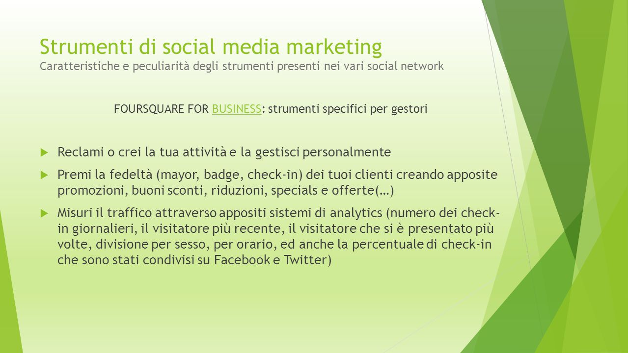 FOURSQUARE FOR BUSINESS: strumenti specifici per gestori