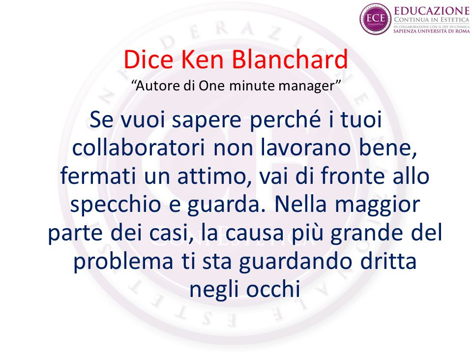 Dice Ken Blanchard Autore di One minute manager