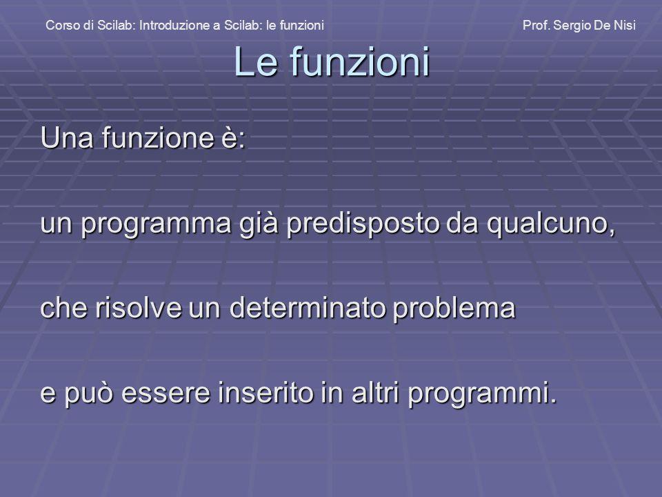 Le funzioni Una funzione è: un programma già predisposto da qualcuno,