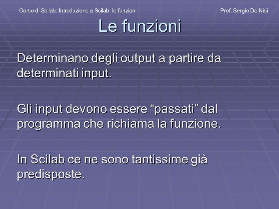 Le funzioni Determinano degli output a partire da determinati input.