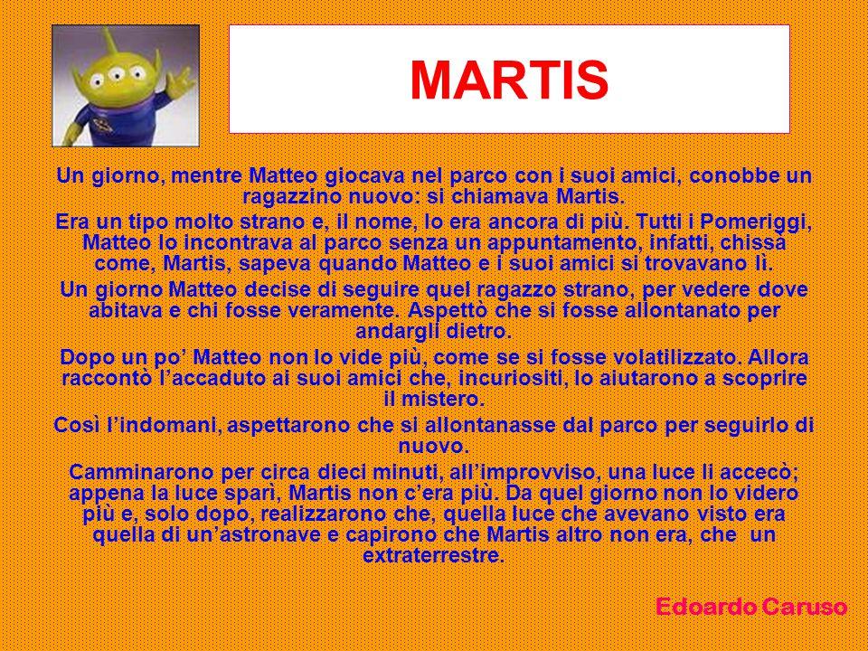 MARTIS Un giorno, mentre Matteo giocava nel parco con i suoi amici, conobbe un ragazzino nuovo: si chiamava Martis.