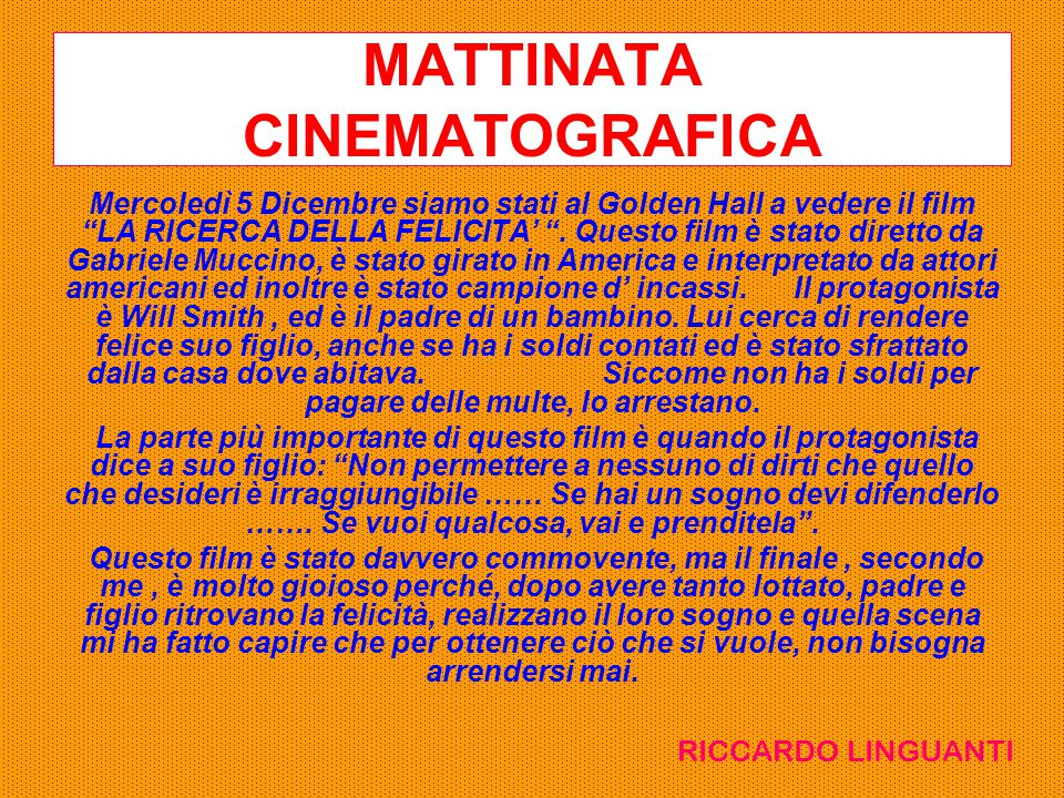 MATTINATA CINEMATOGRAFICA