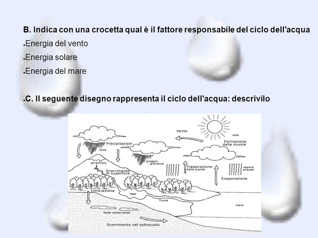 B. Indica con una crocetta qual è il fattore responsabile del ciclo dell acqua