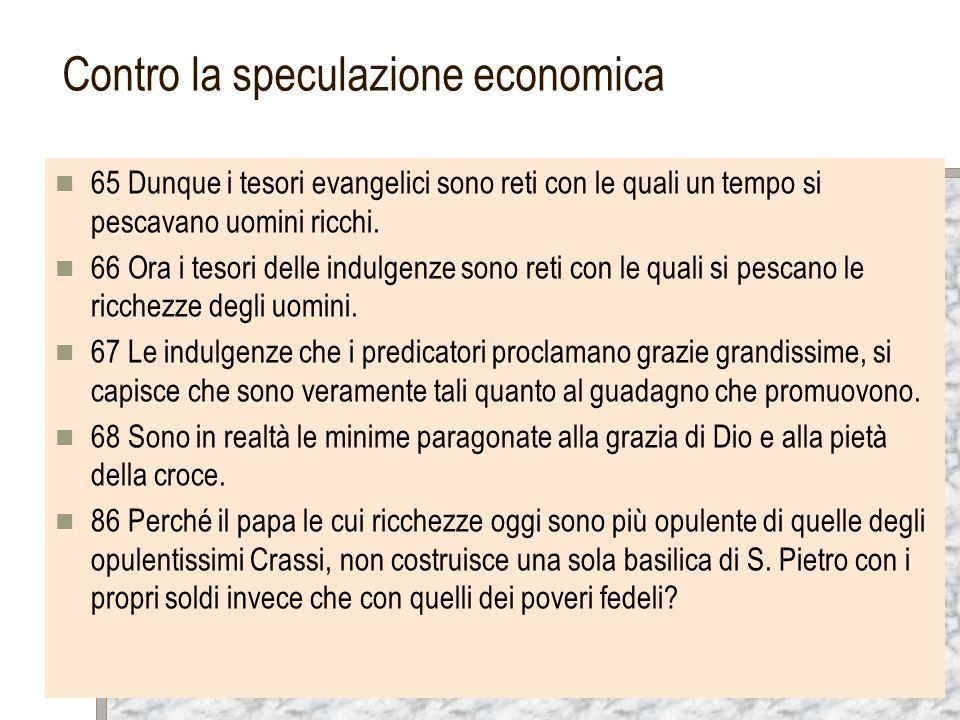 Contro la speculazione economica