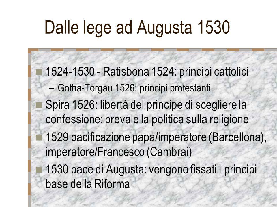 Dalle lege ad Augusta 1530 1524-1530 - Ratisbona 1524: principi cattolici. Gotha-Torgau 1526: principi protestanti.