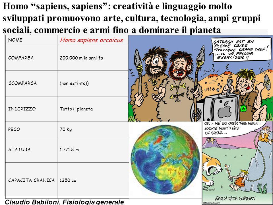 Homo sapiens, sapiens : creatività e linguaggio molto sviluppati promuovono arte, cultura, tecnologia, ampi gruppi sociali, commercio e armi fino a dominare il pianeta