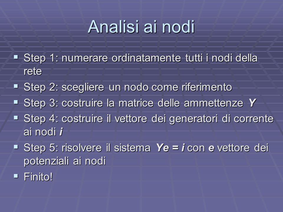 Analisi ai nodi Step 1: numerare ordinatamente tutti i nodi della rete
