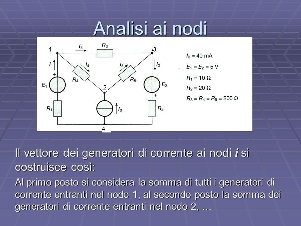 Analisi ai nodi 1. 2. 3. 4. Il vettore dei generatori di corrente ai nodi i si costruisce così: