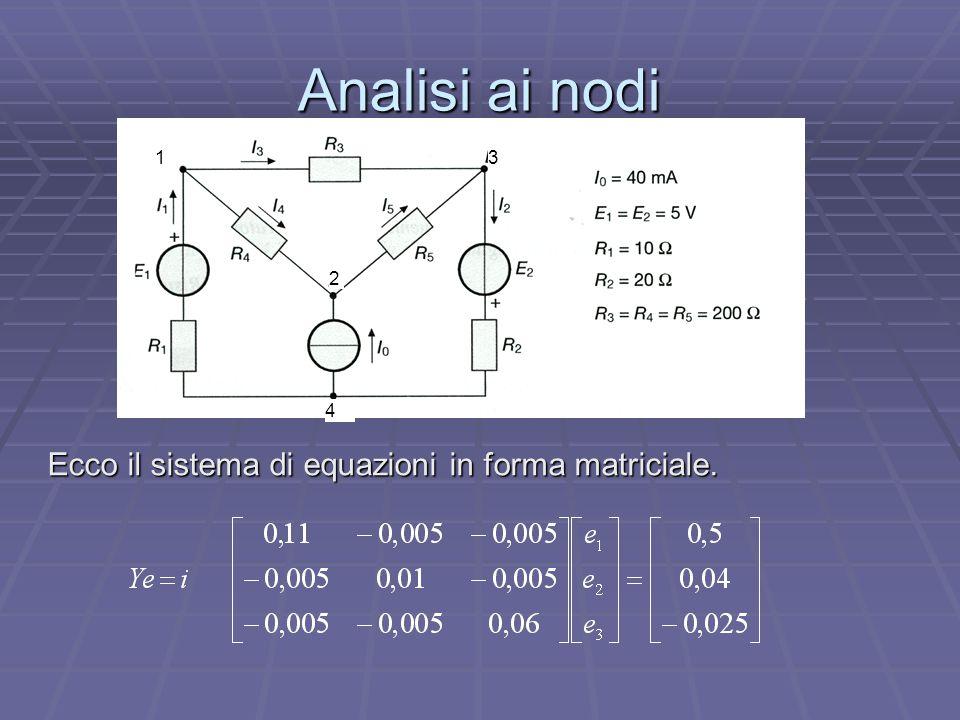Analisi ai nodi Ecco il sistema di equazioni in forma matriciale. 1 2