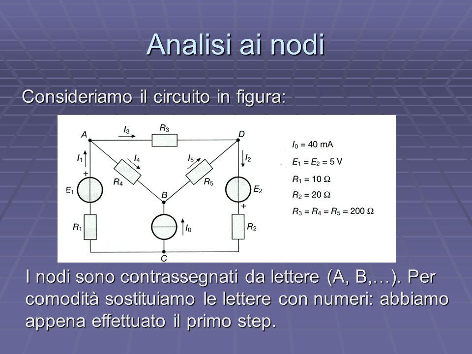 Analisi ai nodi Consideriamo il circuito in figura: