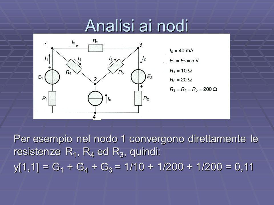 Analisi ai nodi 1. 2. 3. 4. Per esempio nel nodo 1 convergono direttamente le resistenze R1, R4 ed R3, quindi: