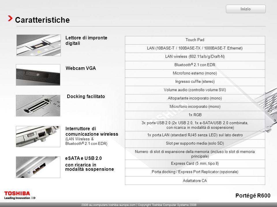 Caratteristiche Portégé R600 Lettore di impronte digitali Webcam VGA