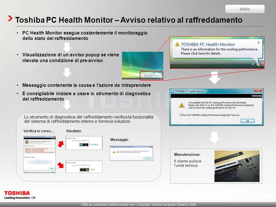 Toshiba PC Health Monitor – Avviso relativo al raffreddamento