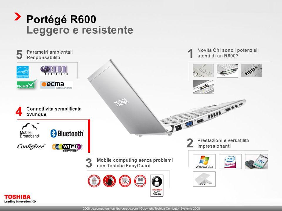 1 5 4 2 3 Portégé R600 Leggero e resistente