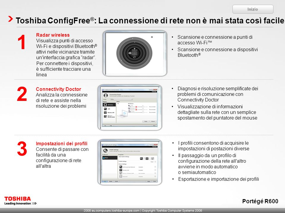 Inizio Toshiba ConfigFree®: La connessione di rete non è mai stata così facile. 1. Radar wireless.