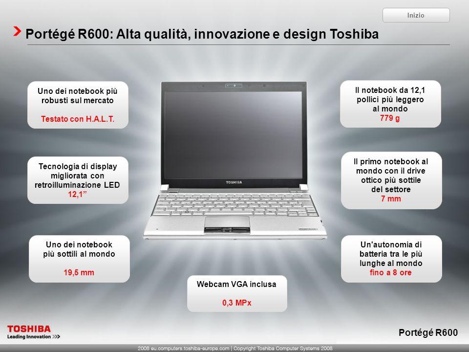 Portégé R600: Alta qualità, innovazione e design Toshiba