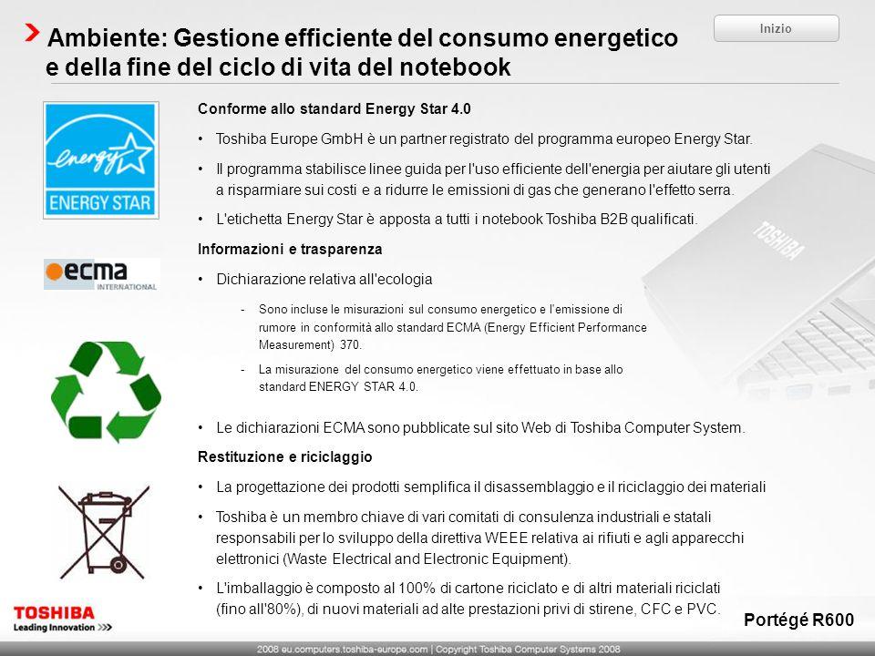 Ambiente: Gestione efficiente del consumo energetico e della fine del ciclo di vita del notebook