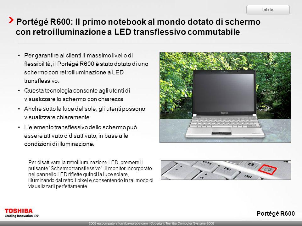 Inizio Portégé R600: Il primo notebook al mondo dotato di schermo con retroilluminazione a LED transflessivo commutabile.