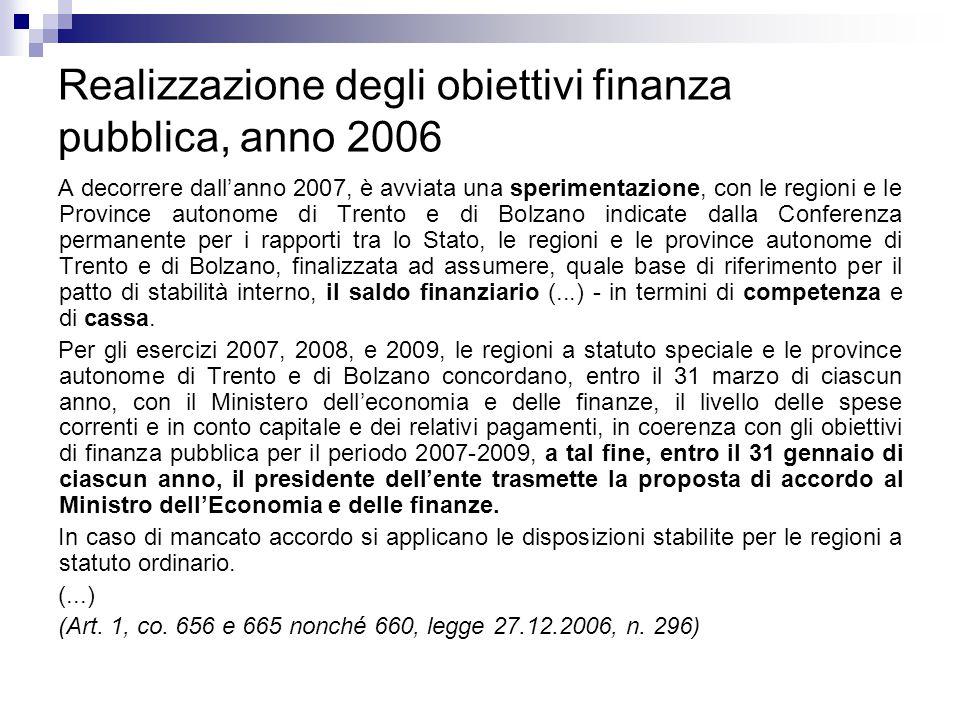 Realizzazione degli obiettivi finanza pubblica, anno 2006